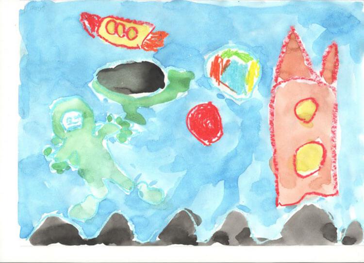 Как нарисовать рисунок на день космонавтики для сада и школы risunok na den kosmonavtiki dlya detej 38
