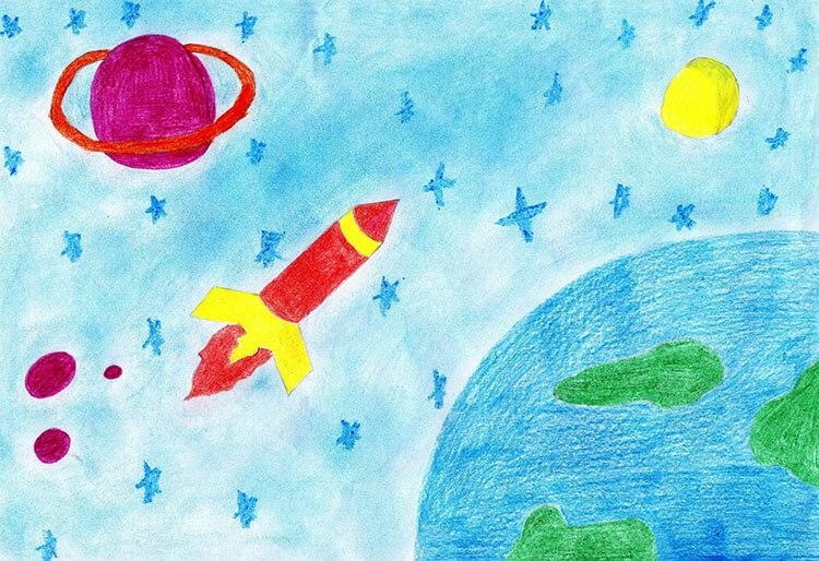 Как нарисовать рисунок на день космонавтики для сада и школы risunok na den kosmonavtiki dlya detej 46