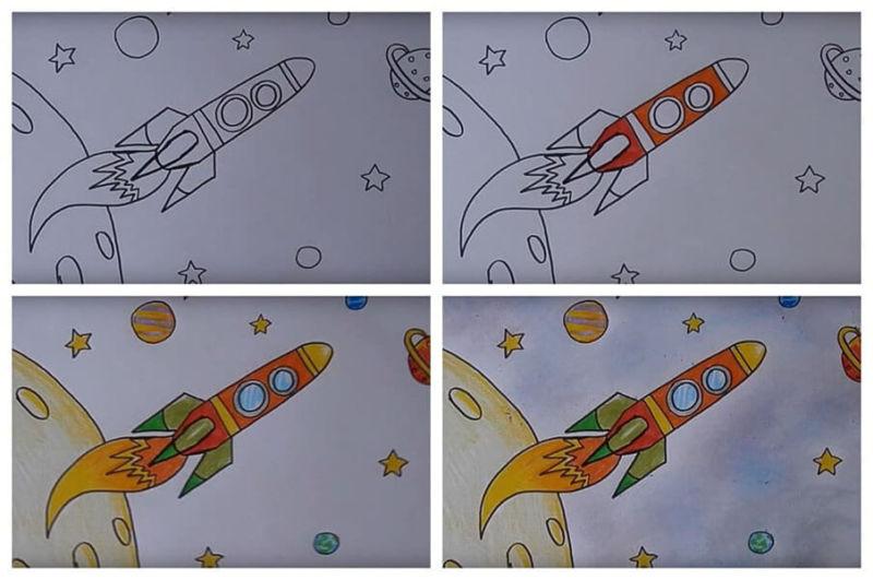 Как нарисовать рисунок на день космонавтики для сада и школы risunok na den kosmonavtiki dlya detej 69