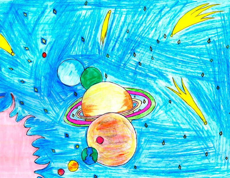 Как нарисовать рисунок на день космонавтики для сада и школы risunok na den kosmonavtiki dlya detej 70