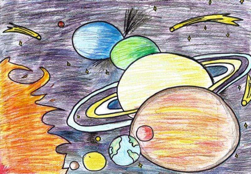 Как нарисовать рисунок на день космонавтики для сада и школы risunok na den kosmonavtiki dlya detej 71