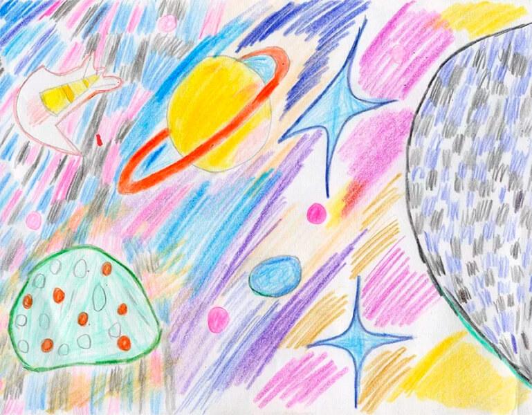 Как нарисовать рисунок на день космонавтики для сада и школы risunok na den kosmonavtiki dlya detej 73
