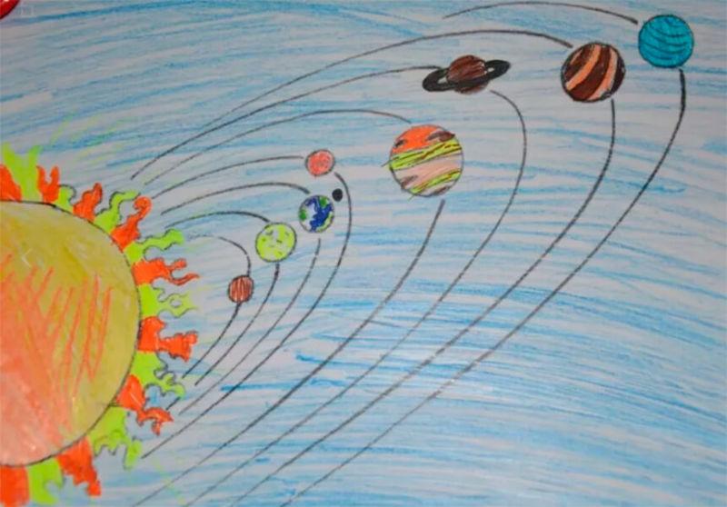 Как нарисовать рисунок на день космонавтики для сада и школы risunok na den kosmonavtiki dlya detej 74