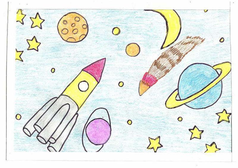 Как нарисовать рисунок на день космонавтики для сада и школы risunok na den kosmonavtiki dlya detej 75