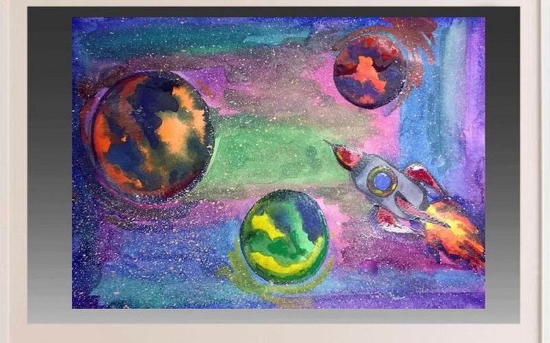 Как нарисовать рисунок на день космонавтики для сада и школы risunok na den kosmonavtiki dlya detej 76