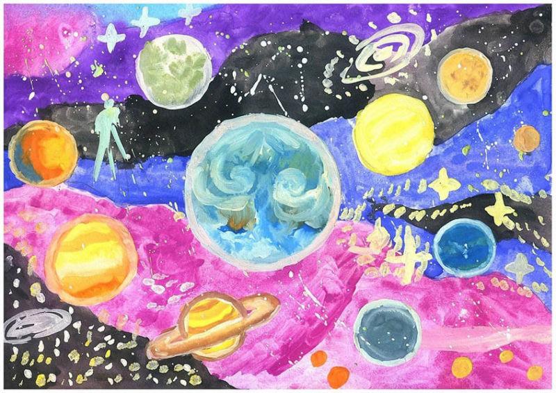 Как нарисовать рисунок на день космонавтики для сада и школы risunok na den kosmonavtiki dlya detej 98