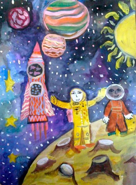 Как нарисовать рисунок на день космонавтики для сада и школы risunok na den kosmonavtiki dlya detej 99