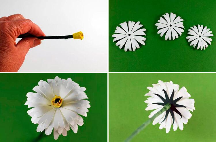 Делаем цветок ромашка своими руками из различных материалов 10 13