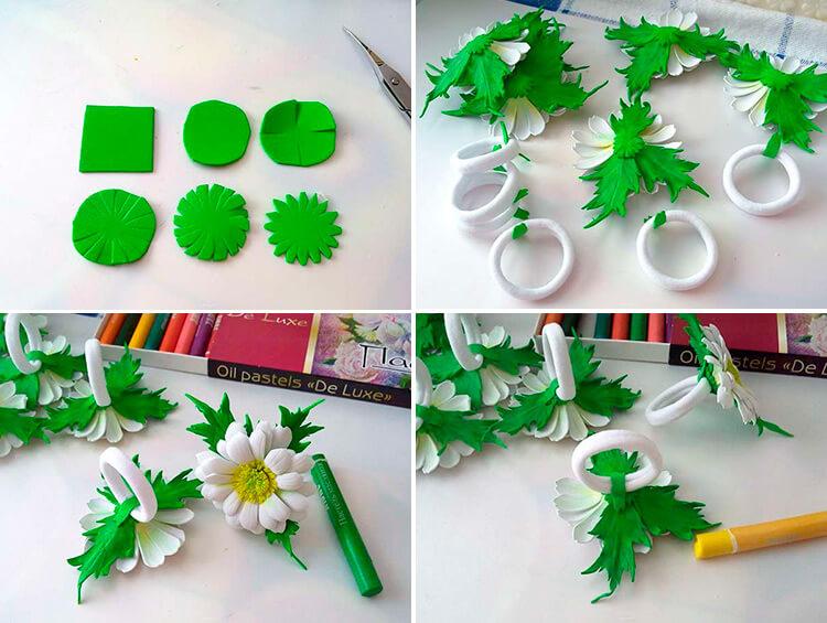 Делаем цветок ромашка своими руками из различных материалов 103 106