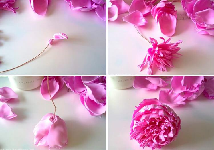 Пион своими руками: как сделать цветок различными способами 112 115