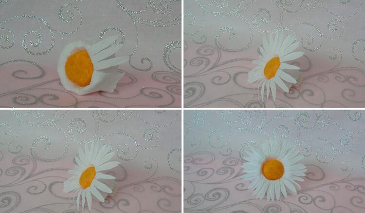 Делаем цветок ромашка своими руками из различных материалов 201 204