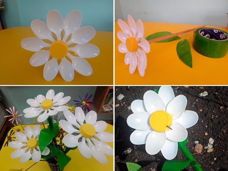 Делаем цветок ромашка своими руками из различных материалов 218 221