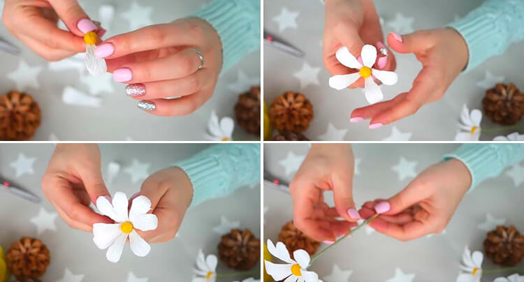 Делаем цветок ромашка своими руками из различных материалов 42 45