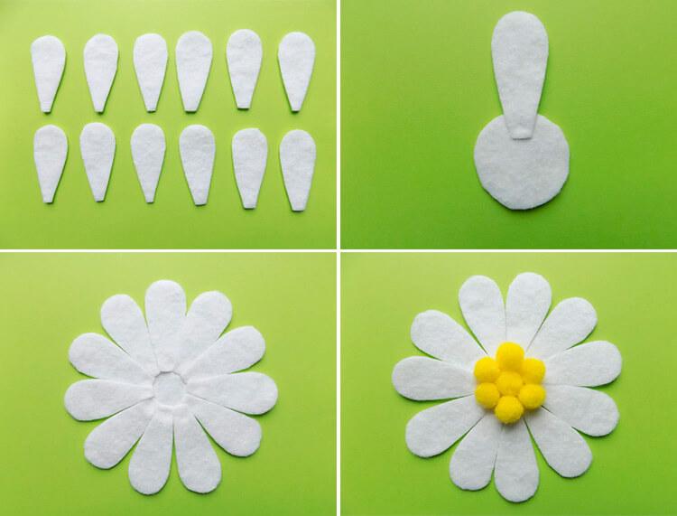 Делаем цветок ромашка своими руками из различных материалов 63 66