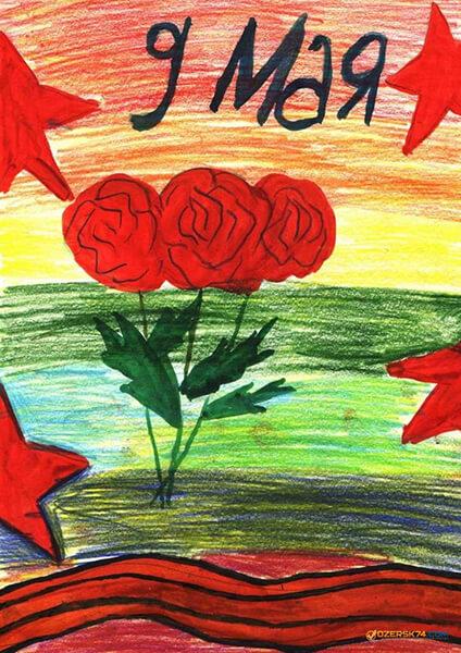 Детские рисунки на 9 мая в школу и садик detskie risunki ko dnyu pobedy 3