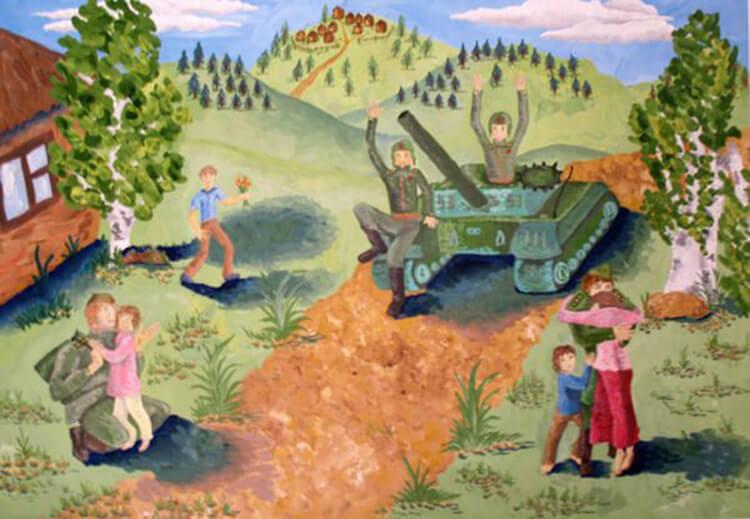 Солдаты на танках вернулись домой.