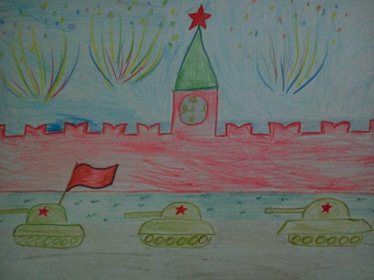 Танки на красной площади с красным флагом.