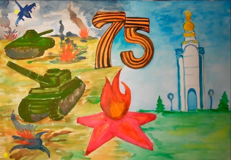 Детские рисунки на 9 мая в школу и садик detskie risunki ko dnyu pobedy 76