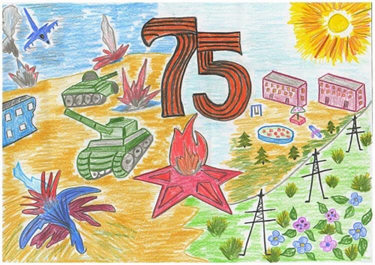 Детские рисунки на 9 мая в школу и садик detskie risunki ko dnyu pobedy 80