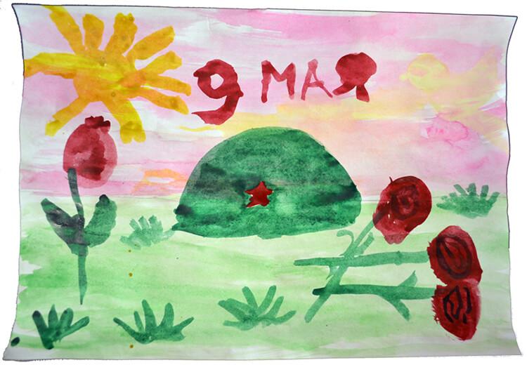 Детские рисунки к 9 Мая на день Победы и примеры открыток на военную тематику для конкурса в школе
