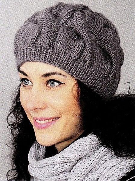 Женский берет спицами: как связать спицами модный головной убор kak svyazat spicami beret 15