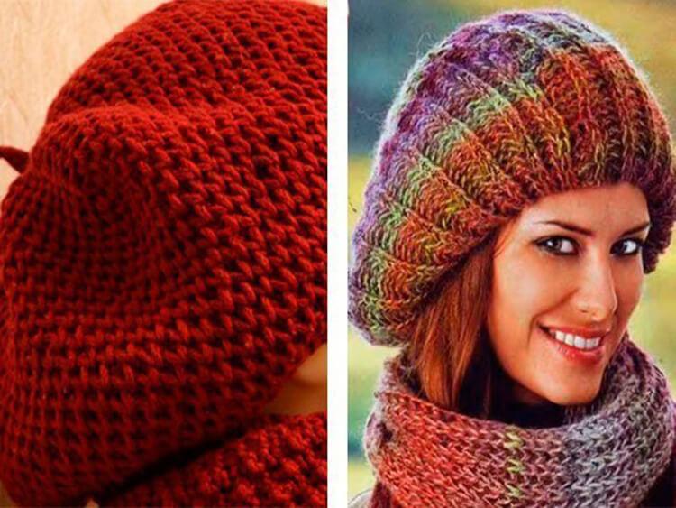 Женский берет спицами: как связать спицами модный головной убор kak svyazat spicami beret 2
