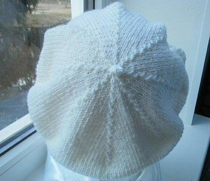 Женский берет спицами: как связать спицами модный головной убор kak svyazat spicami beret 25