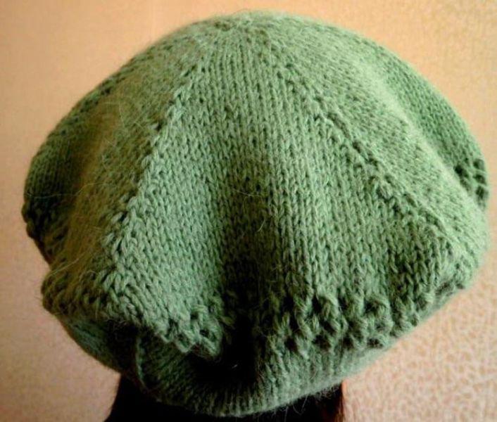Женский берет спицами: как связать спицами модный головной убор kak svyazat spicami beret 50