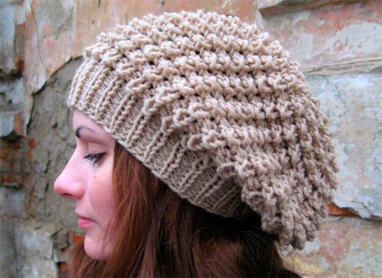 Женский берет спицами: как связать спицами модный головной убор kak svyazat spicami beret 54
