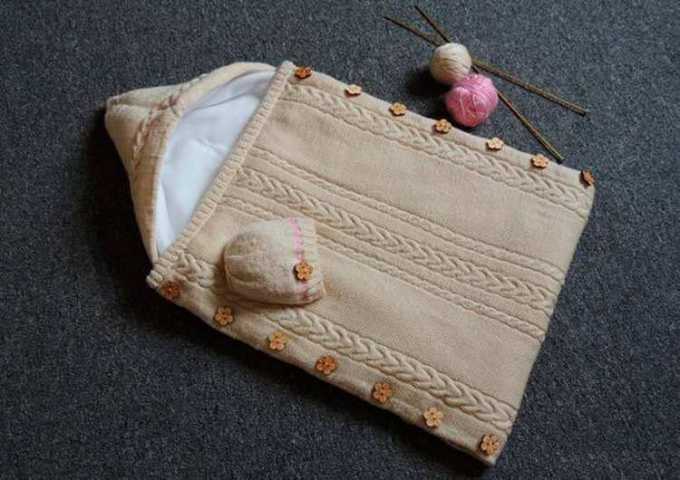 Вяжем красивый конверт спицами для новорожденного малыша detskij konvert spicami opisanie 11