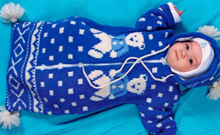 Вяжем красивый конверт спицами для новорожденного малыша detskij konvert spicami opisanie 16