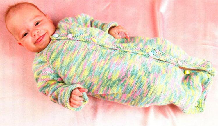 Вяжем красивый конверт спицами для новорожденного малыша detskij konvert spicami opisanie 4