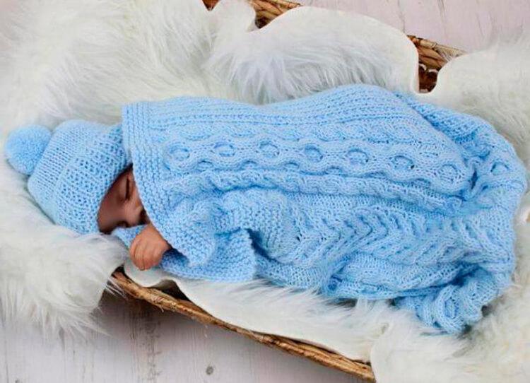 Плед для новорожденного: вяжем спицами для мальчика и девочки pled detskij spicami dlya novorozhdennyh 1