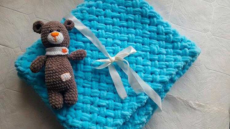 Плед для новорожденного: вяжем спицами для мальчика и девочки pled detskij spicami dlya novorozhdennyh 67