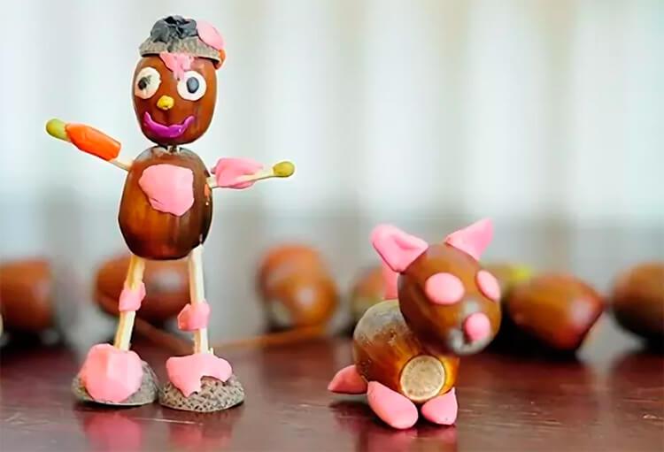Детские поделки на тему Осень из желудей для школы и садика detskie podelki svoimi rukami iz zheludej 103