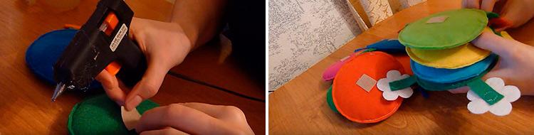 Детская поделка Гусеница из различных материалов 60 61