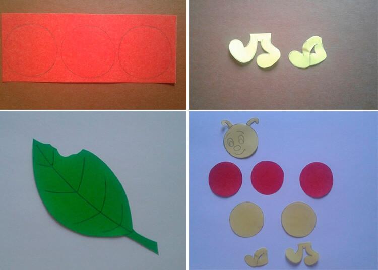 Детская поделка Гусеница из различных материалов 7 10 1