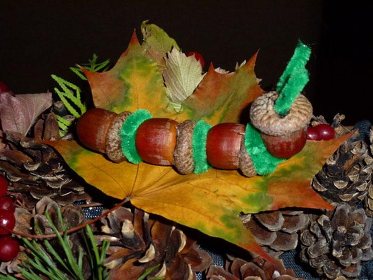 Гусеница из природного материала — различные варианты поделки с фото и описанием podelka gusenica iz prirodnogo materiala 26