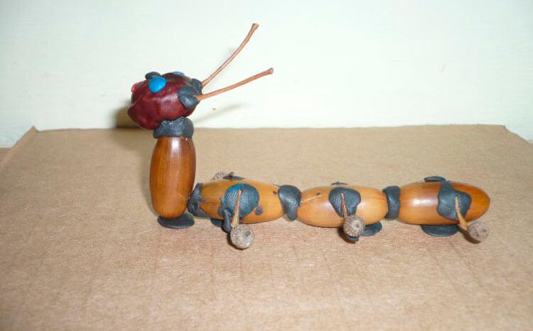 Гусеница из природного материала — различные варианты поделки с фото и описанием podelka gusenica iz prirodnogo materiala 31