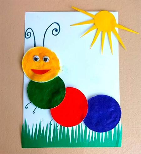Детская поделка Гусеница из различных материалов podelka gusenica svoimi rukami 66