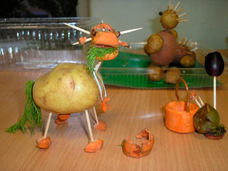 Животные из овощей и фруктов для сада и школы своими руками podelki zhivotnyh iz prirodnogo materiala svoimi rukami 75