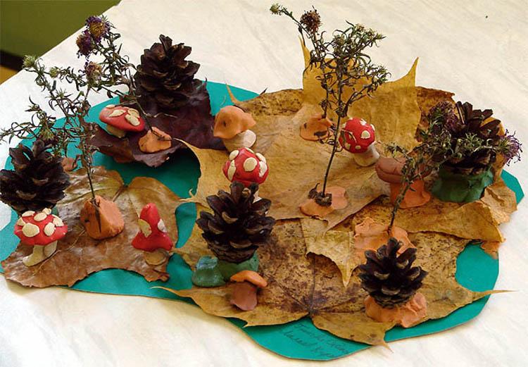 Различные поделки из природного материала в школу и садик