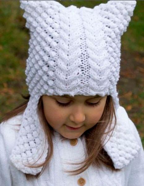 Красивые шапки для девочки: вяжем спицами на зиму