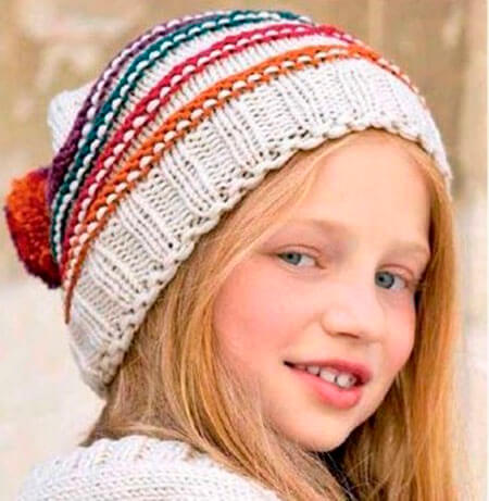 Красивые шапки для девочки: вяжем спицами на зиму shapka spicami dlya devochki 27