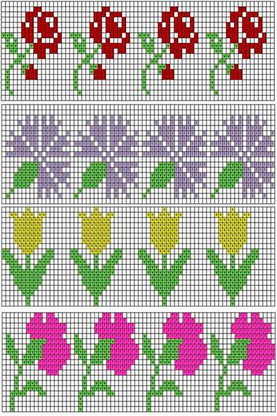 Красивые узоры спицами в технике Жаккард: схемы вязания vyazanie zhakkardovyh uzorov spicami 102 1