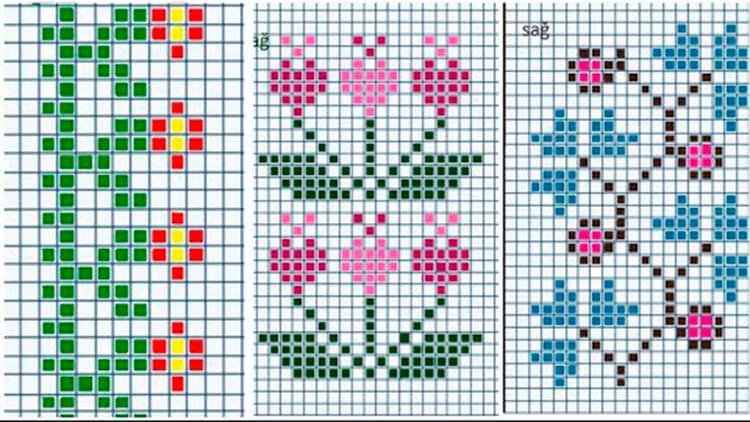 Красивые узоры спицами в технике Жаккард: схемы вязания vyazanie zhakkardovyh uzorov spicami 103 1