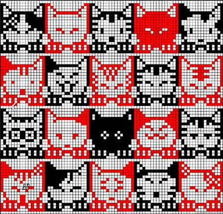 Красивые узоры спицами в технике Жаккард: схемы вязания vyazanie zhakkardovyh uzorov spicami 132