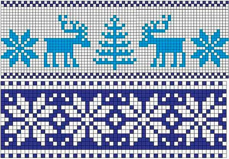 Красивые узоры спицами в технике Жаккард: схемы вязания vyazanie zhakkardovyh uzorov spicami 89 1